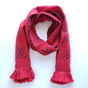 Louis Vuitton LV Logomania Wool Scarf Rubis Red
